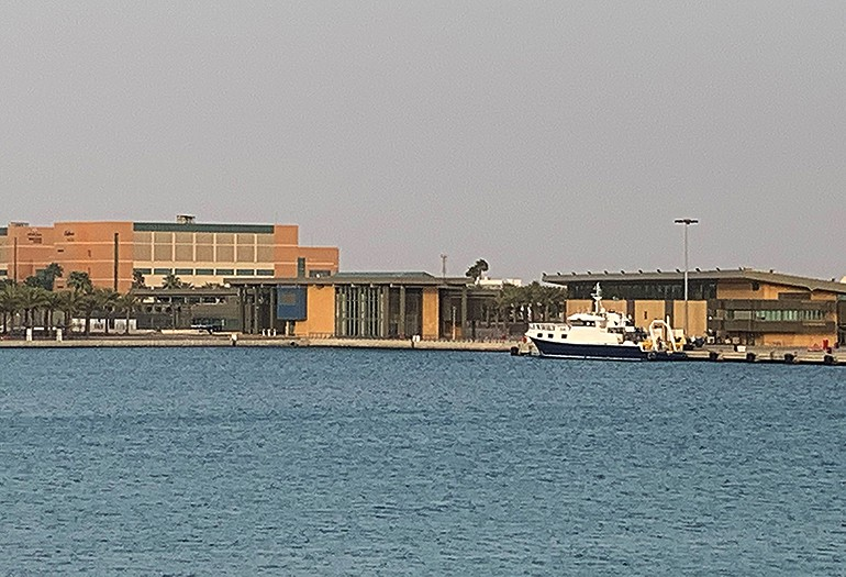 Science Research vessel in front of Kaust Building