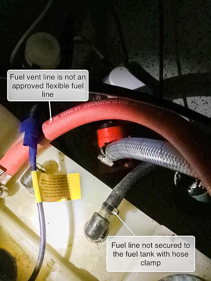 Incorrect fuel line and hose clamp